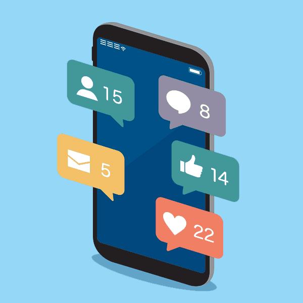 social media notifications on device