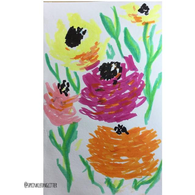 Sprinkle on Glitter Blog// one flower- three ways//marker