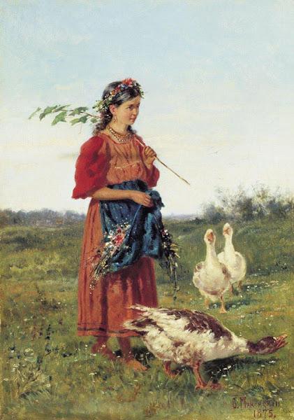 Маковский Владимир Егорович - Девочка с гусями. 1875