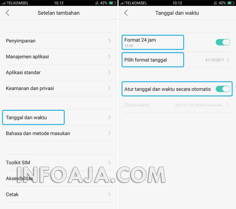 setting tanggal dan waktu aplikasi WhatsApp