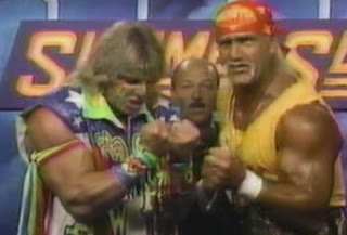 WWF / WWE: Summerslam 1991 -  WWF Champion Hulk Hogan teamed with Ultimate Warrior to take on Sgt. Slaughter, Cl. Mustafa and General Adnan