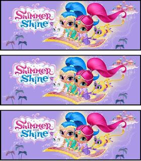 Shimmer y Shine: Etiquetas para Fiesta para Imprimir Gratis.