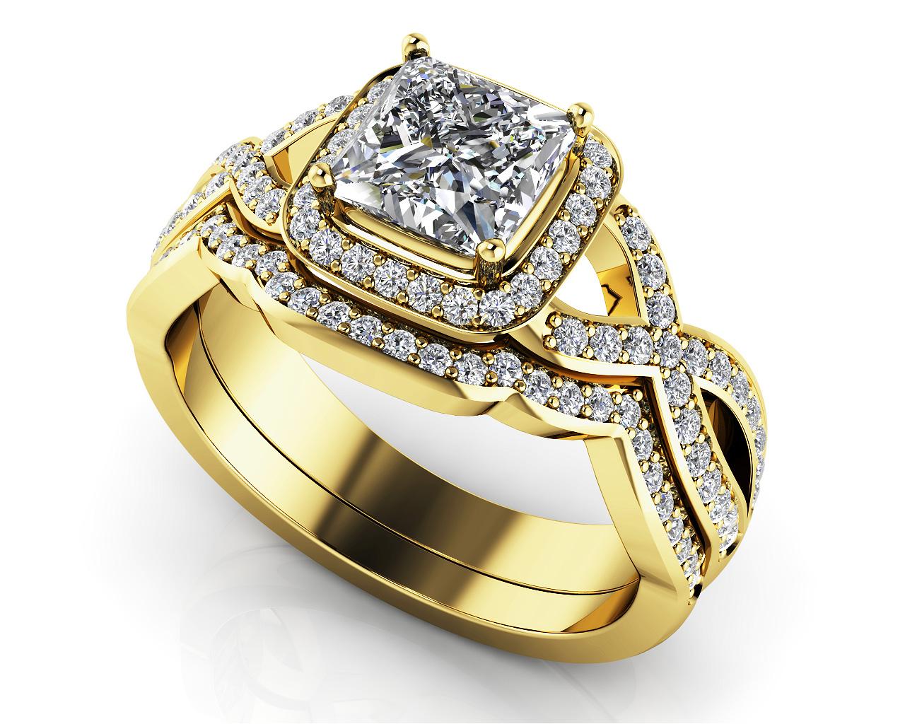 Woven Band Princess Diamond Bridal Set from Anjolee Jewelry