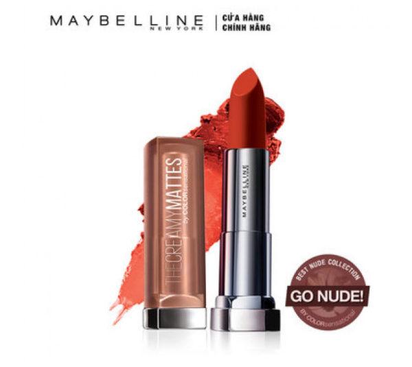 Son Lì Maybelline Chilli Nude 3.9g Color Sensational Inti-Matte Nudes Lipstick - Ảnh 1