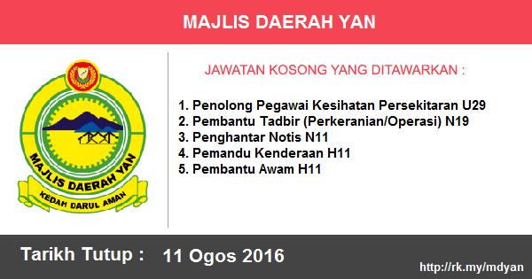 Jawatan Kosong di Majlis Daerah Yan