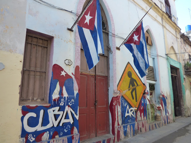 Cuban flag street art in Havana, Cuba