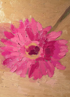 Daily Painting #5 Pink Gerbera 5×7″ Oil on board
