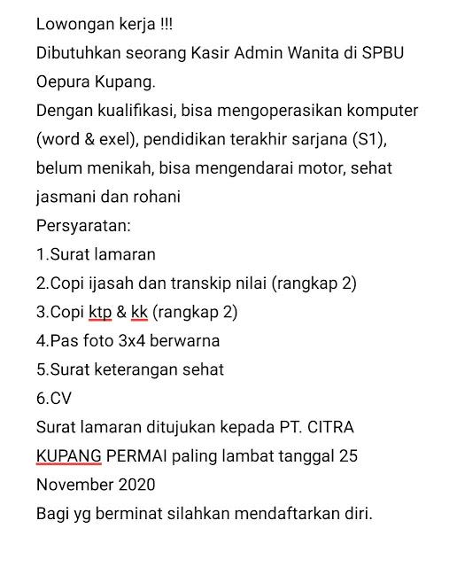 loker kupang, loker kupang ntt, loker ntt, loker jakarta, loker bank indonesia, loker di spbu, loker terbaru, loker 2020, loker bumn