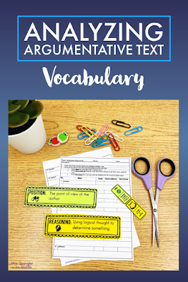 The first step in teaching middle school students to analyze argumentative text is learning the key vocabulary.