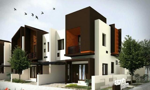 Minimalist 2-storey house design in the corner of L