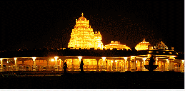 vellore golden temple night view