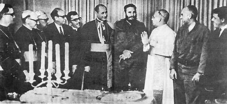 Mons. Cesar Zacch recepciona Fidel Castro no Palácio da Nunciatura em Havana