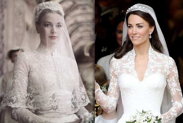 grace kelly and kate middleton wedding gowns