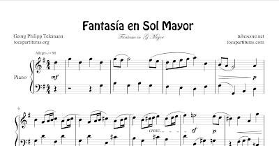 Fantasía en Sol Mayor de Telemann Partitura de Piano