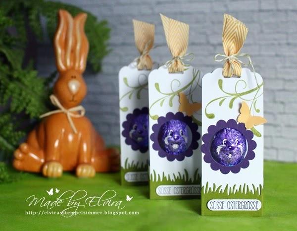 Lila Hasenverpackung mit Anleitung-Osterverpackung für den lila Schmunzelhasen mit Produkten von Stampin Up