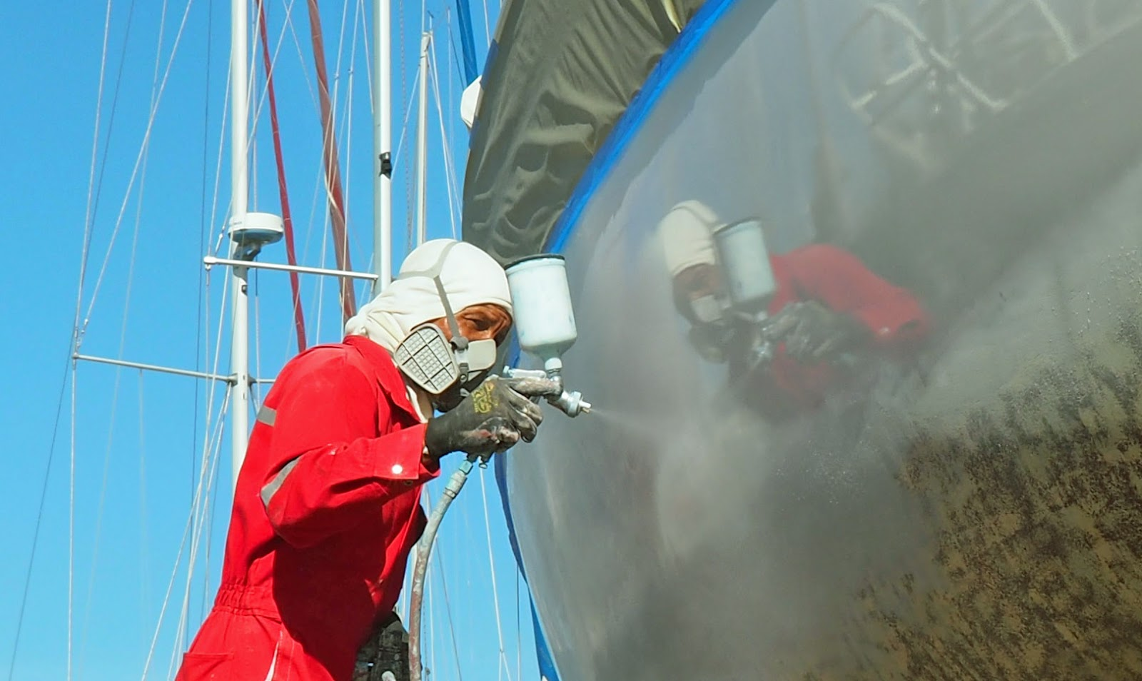 Spraying Topside Paint