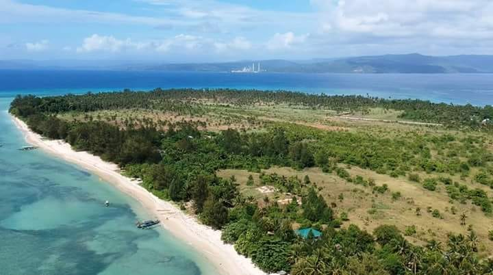 Cagbalete Island aerial shot blue waters white sand beach