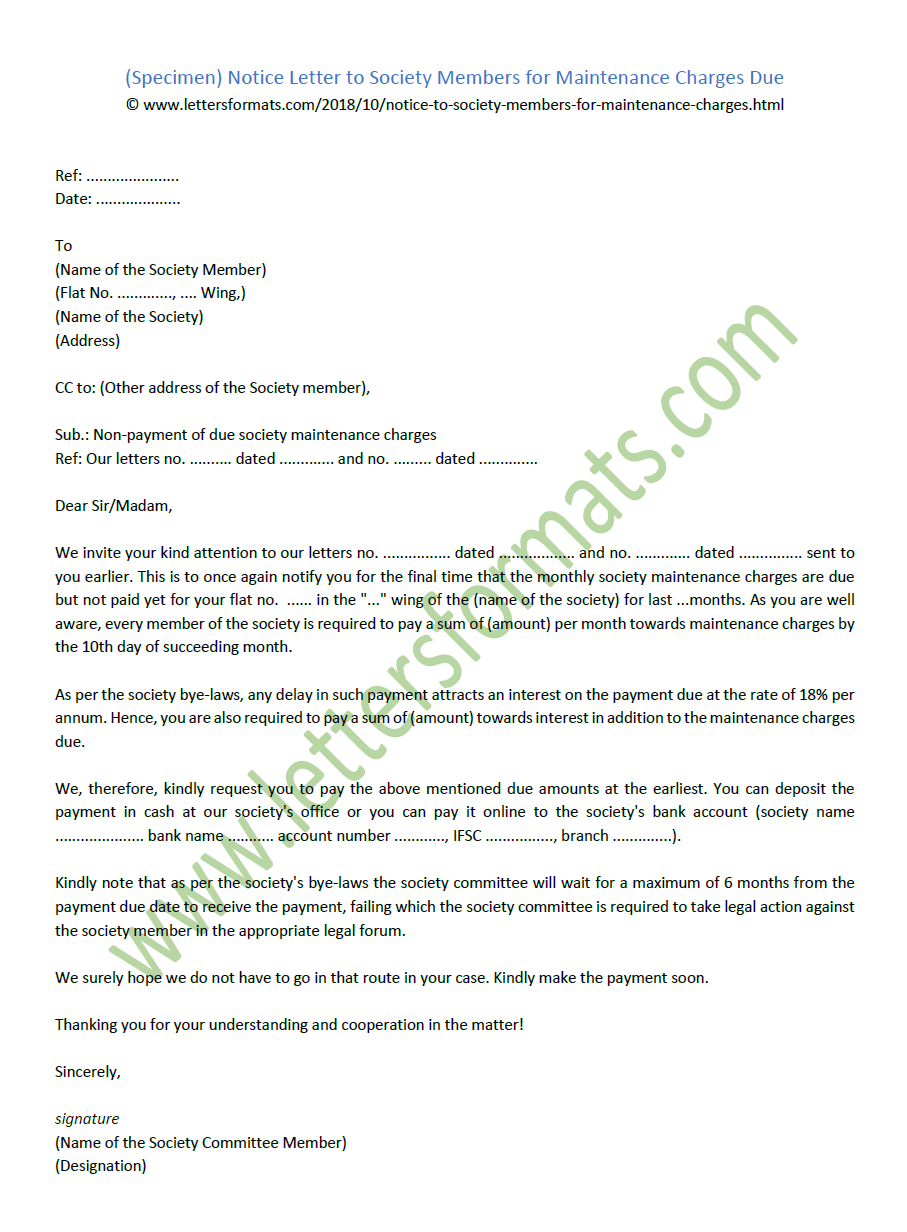 Notice Letter to Society Members for Maintenance Charges Due (Sample)