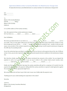 notice letter to society members for maintenance charges due