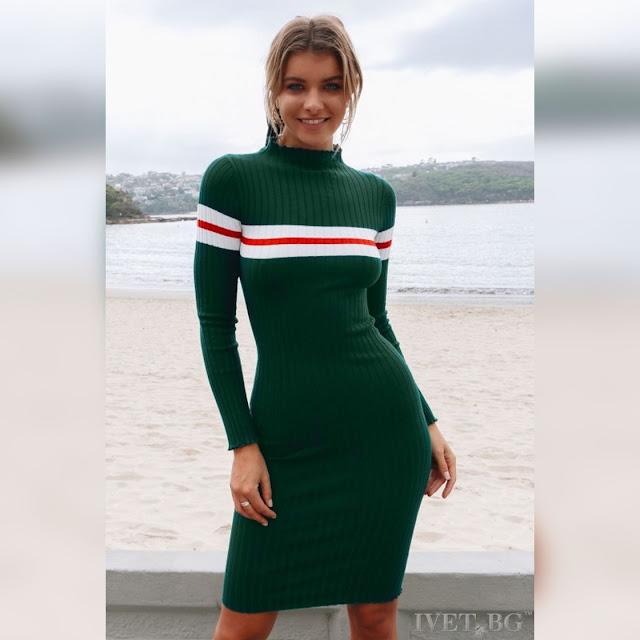 Μακρυμάνικο φόρεμα STELA GREEN