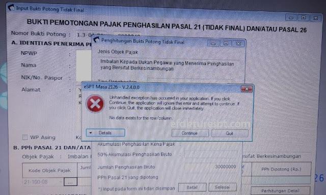 eSPT PPh 21 error No data exist for the row