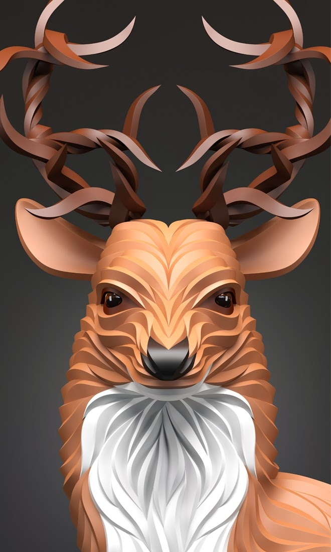 06-Stag-Maxim-Shkret-Digital-Origami-Animal-Art-www-designstack-co