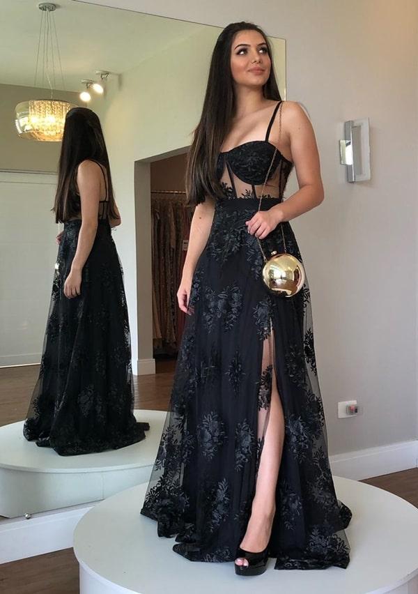 vestido de festa longo preto