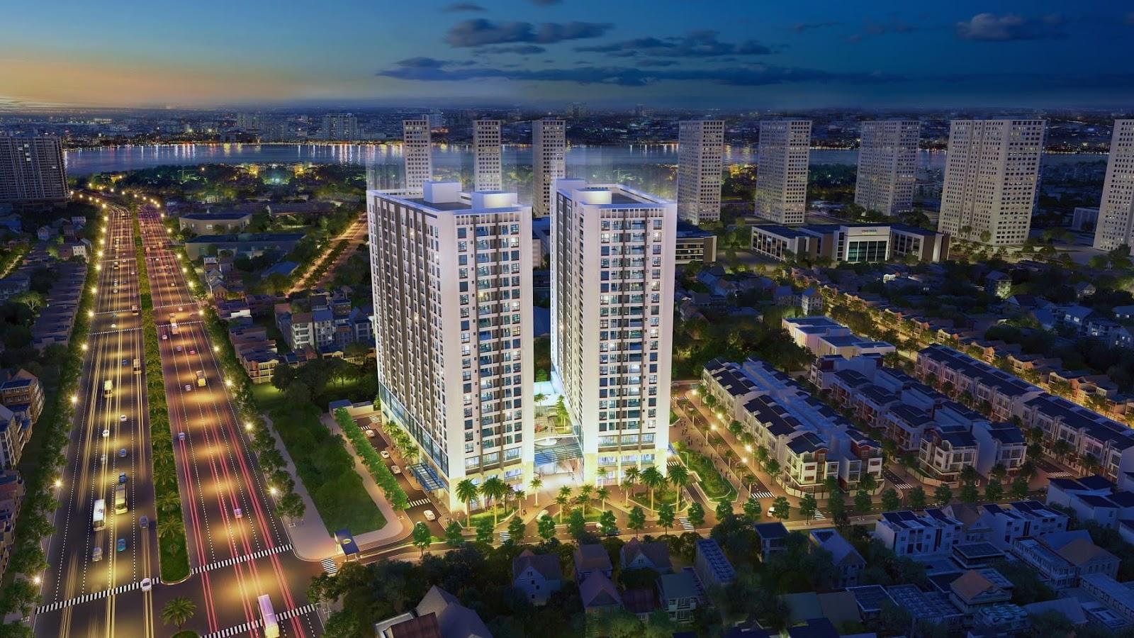 Phối cảnh ban đêm chung cư Green Pearl Minh Khai