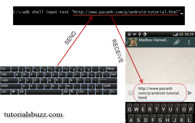 adb shell input text