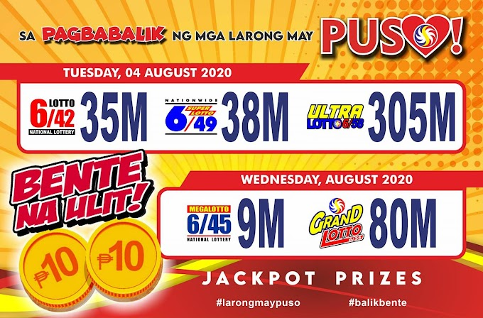 LOTTO TICKET PRICE BACK TO P20