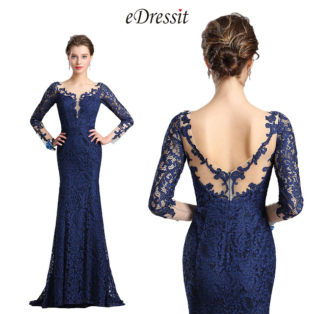 eDressit V-Cut Bodice Sexy Navy Blue Lace Dress Ball Gown