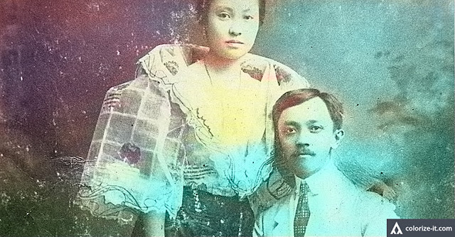 Jose Patronio Katigbak with wife.  Image source:  Renz Marion D. Katigbak.  Colorized courtesy of Algorithmia.