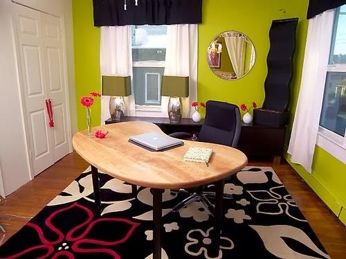 oficina paredes verde limón