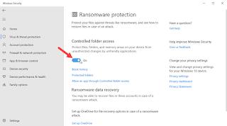 Mengaktifkan Anti Ransomware di Windows Defender