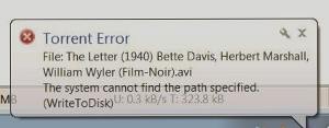 System cannot find the path specified (WritetoDisk)