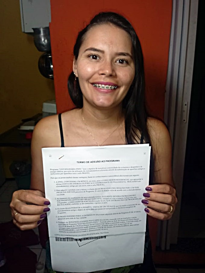 Luz Solidaria 2019 - Consumidora tem pedido reconsiderado pela Enel.