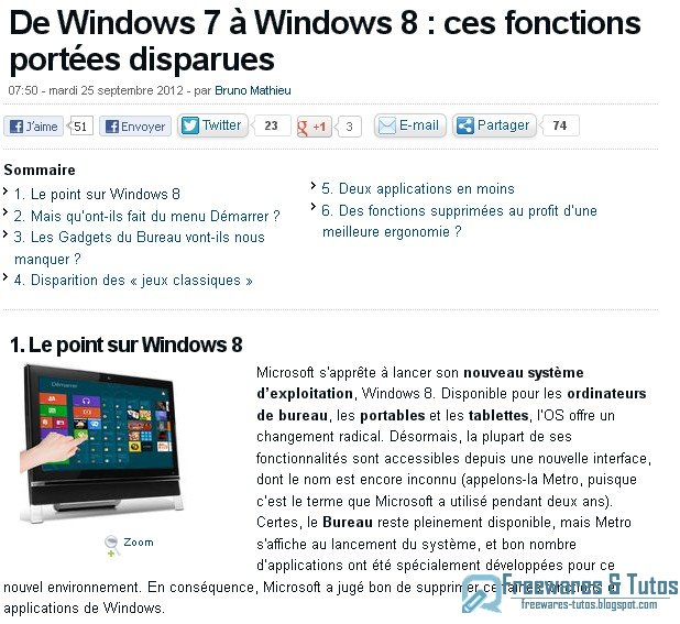 Le site du jour : De Windows 7 à Windows 8 : tour d'horizon des fonctions disparues
