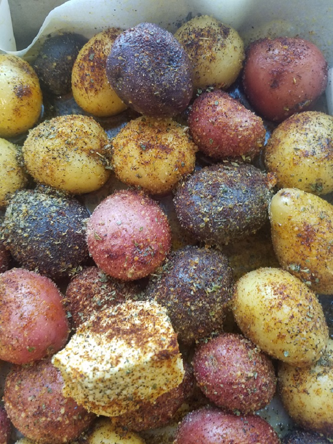these are herb crusted  roasted red white and blue potatoes