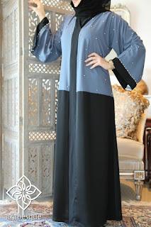 Model baju lebaran muslimah abaya biru muda pastel