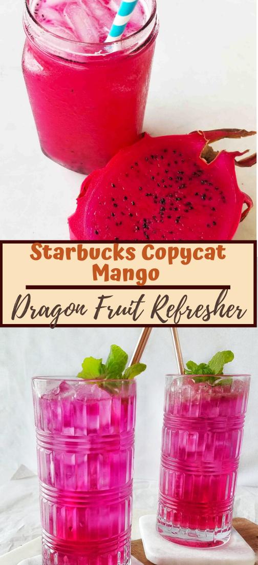 Starbucks Copycat Mango Dragon Fruit Refresher #healthydrink #drinkrecipe #smoothiehealthy #cocktail