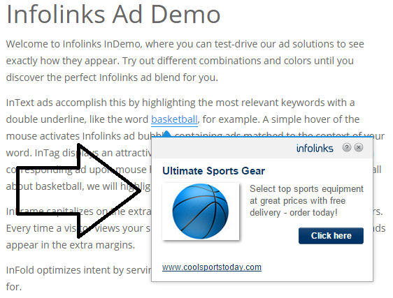 Infolinks Pop-up Ads Demo