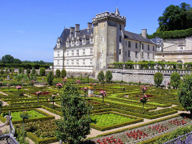 The potager garden and chateau of Villandry.  Indre et Loire, France. Photographed by Susan Walter. Tour the Loire Valley with a classic car and a private guide.