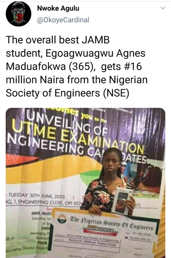 Teenager with Highest Score in Jamb Gets a Cash Reward