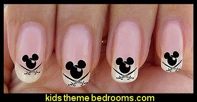 Disney style,Mickey mouse pirate,nail art design,nail stickers
