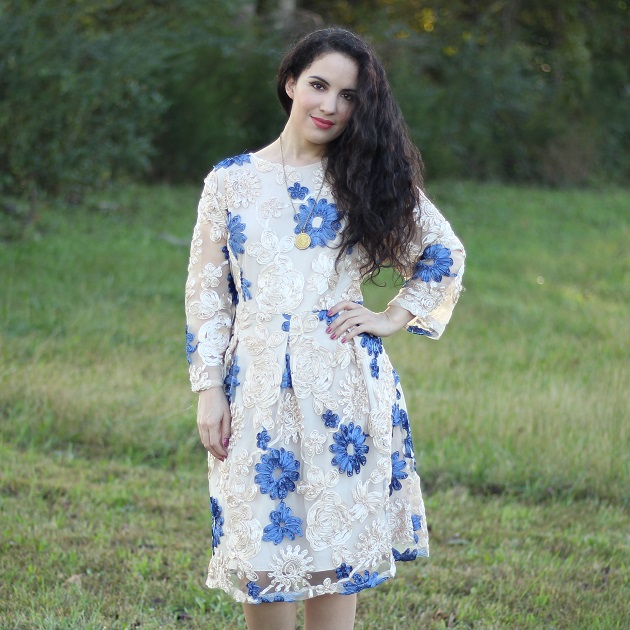 Evatrends Twinkle Flower Lace A-Line Dress
