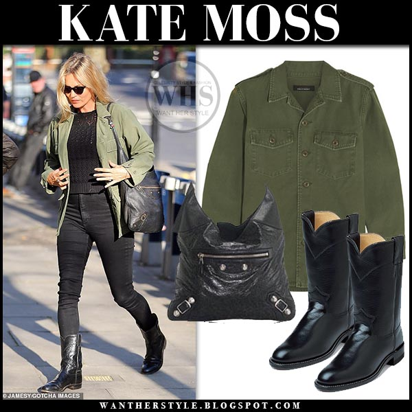 7de37677201 Kate Moss in green canvas jacket and black cowboy boots in London on ...