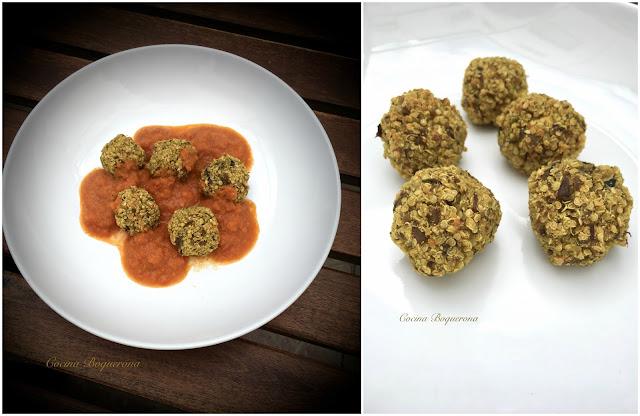 Albóndigas de quinoa, champiñones y setas con salsa de tomate