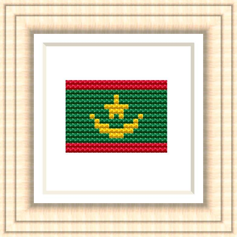 NATIONAL FLAG OF MAURITANIA CROSS STITCH CHART