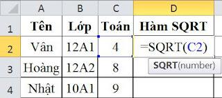 tinhoccoban.net - Ví dụ về hàm SQRT trong Excel.