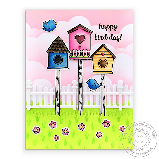 Sunny Studio: Birds with Birdhouses & Pink Clouds Card (using A Bird's Life Stamps, Scalloped Fence Dies, Picket Fence Dies & Slimline Nature Border Dies)